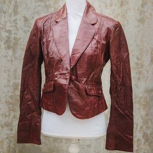 Nordstrom June Maroon Leather Jacket